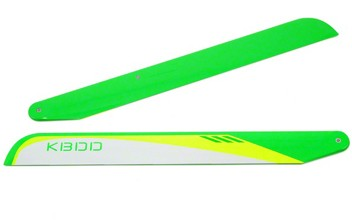 KBDD 325mm Carbon Fiber Main Blabes (Neon Green / White)